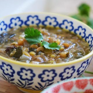 Garlicky Lebanese Lentil Soup with Swiss Chard and Lemon; Dressed Up Rushta Recipe