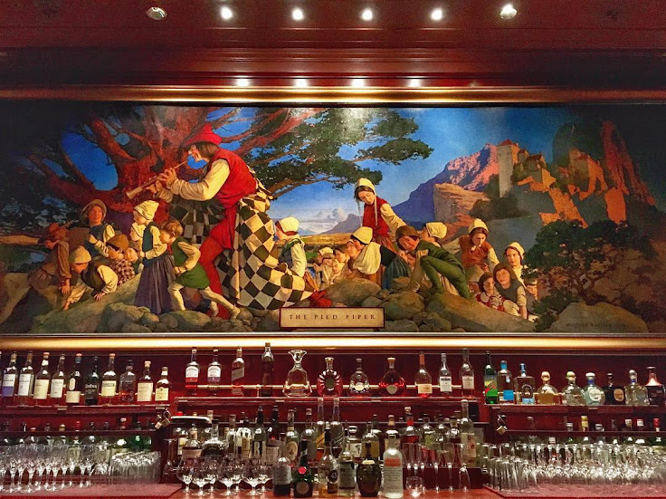 The Pied Piper Bar, named after Maxfield Parrish's painting sitting behind the counter at the Palace Hotel.