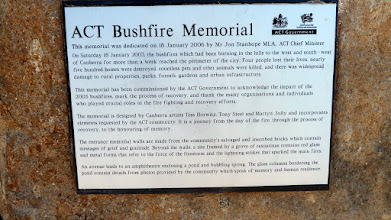 Photo: Plaque to the ACT Bushfires memorial at Stromlo Forest Park