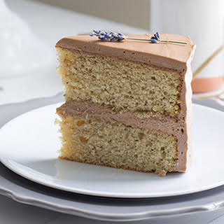 Earl Grey Cake with Chocolate Lavender Frosting.