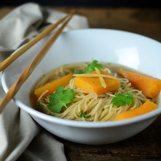 Butternut Squash With Ginger Root And Noodle Broth.