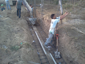 Photo: Preparing the footing for the back wall of the biocell.