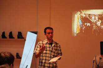 Photo: Joe Sciarrillo sharing stories behind some of the 130 photos in Bay Area Underground