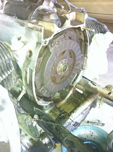 Photo: Transmission removed, revealing the clutch and flywheel.