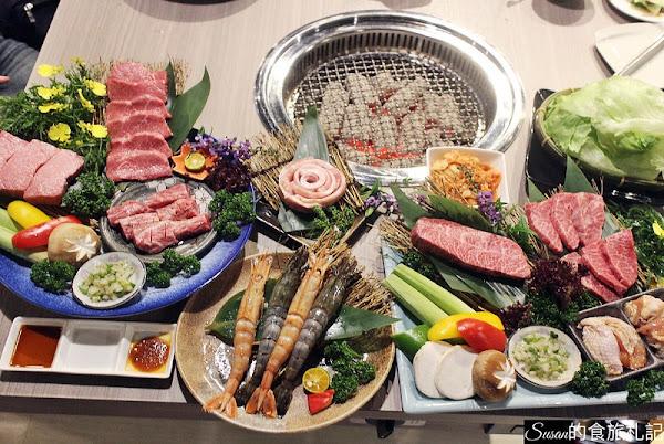 羊角 炭火燒肉,可以選擇799吃到飽也有精緻套餐可以選擇,日澳和牛盛合全餐和牛燒烤讓人再三回味,幸福感破表的美味餐點