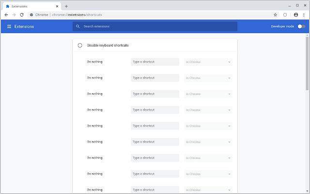 Disable keyboard shortcuts