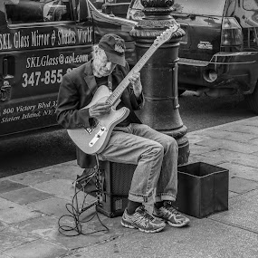 musician nyc by Peter Schoeman - Black & White Street & Candid ( play, harmony, hands, caucasian, jazz, sound, beautiful, music, white, guitarist, attractive, musical, melody, traditional, background, person, playing, style, adult, male, hobby, singer, artist, city, entertainment, isolated, guy, instrument, street, audio, man, musician, live, hand, player, art, performer, electric, performing, black, perform, artistic, portrait, guitar, outdoor, performance, outdoors, urban, culture, travel )