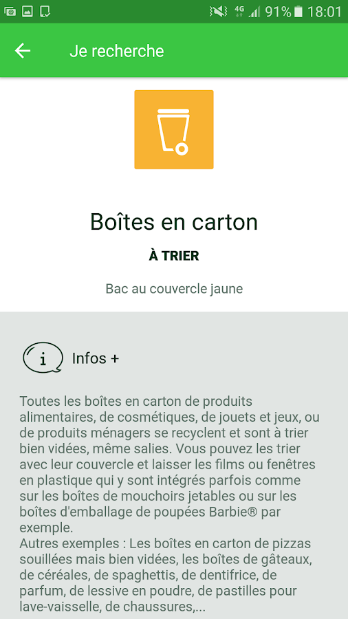 Le Guide du tri – Capture d'écran
