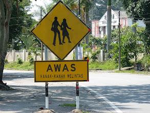 Photo: Pulau Pangkor - warning sign Pedestrians