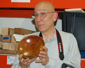Photo: Mike Colella talks about the beautiful color of his apple bowl.