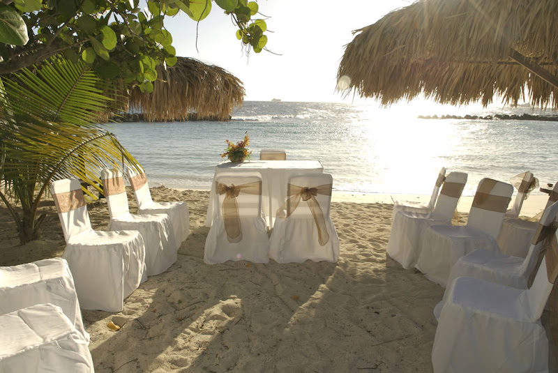 A beachfront is decked out for a wedding at the Avila Hotel in Curacao.
