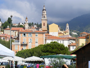 Photo: A better view up the hill to Old Menton, which we will visit in a bit.