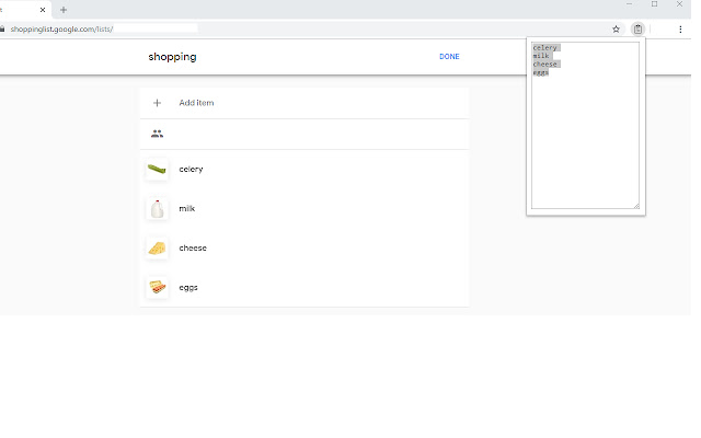 Google Shopping List Copy To Clipboard