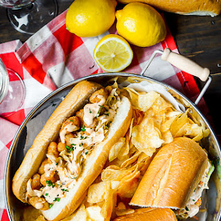 Popcorn Shrimp Po Boys with Remoulade Coleslaw.