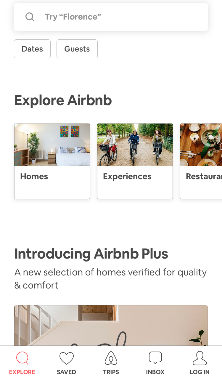 A screenshot of Airbnb's mobile app