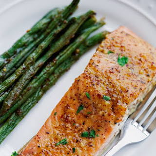 One Sheet Pan Honey Mustard Salmon with Green Beans