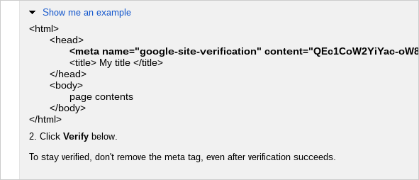 The meta tag is placed between the <head> and <body> sections.