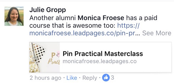 Pin Practical Facebook testimonial