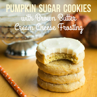 Pumpkin Sugar Cookies w/Brown Butter Cream Cheese Frosting