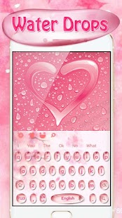 Pink dew drops keyboard theme - náhled