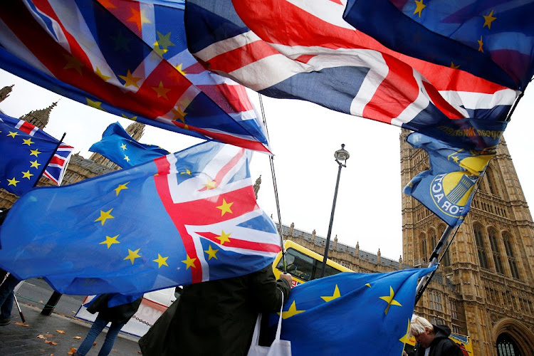 Demonstrators protest against Brexit outside the Houses of Parliament in London, Britain, November 28 2018. Picture: REUTERS/HENRY NICHOLLS