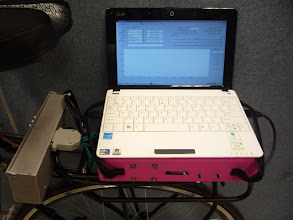 Photo: The laptop showing the GUI for data collection.