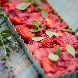 Supremely Simple Strawberry & Rhubarb Tart.
