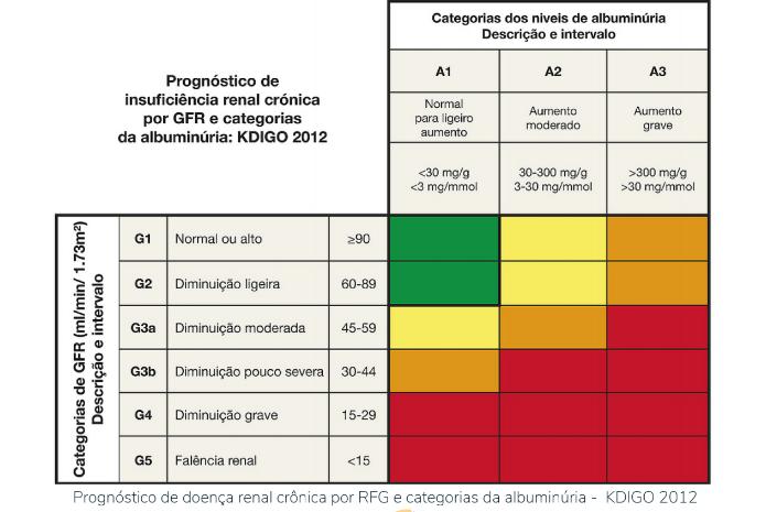 Prognóstico de insuficiência renal crônica por GFR e categorias da albuminúria