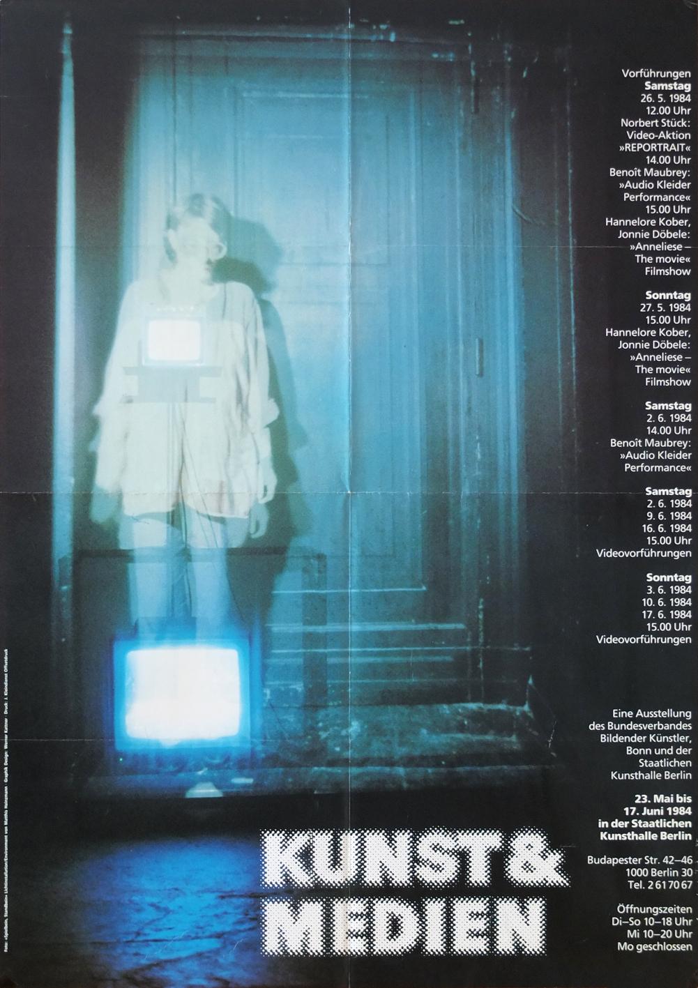 Photo: Ausstellungsplakat KUNST & MEDIEN Staatliche Kunsthalle Berlin 22. Mai - 17. Juni 1984  DIN-A1, 89,5 x59,5 cm
