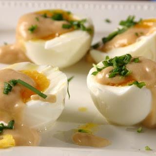 Soft Boiled Eggs with Miso, Lemon Dressing