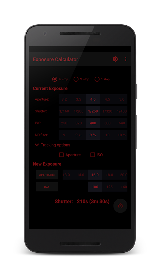Exposure Calculator- screenshot