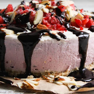 STRAWBERRY CASHEW CREAM CAKE with CAROB DRIZZLE.