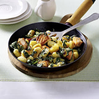Gnocchi with Salmon and Spinach.