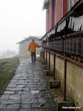 Photo: Richard spins the prayer wheels at the Tengboche monastery.