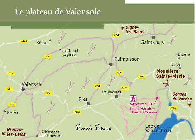 Плато Валенсоль: карта лавандовых полей Прованса в окрестностях Валенсоля (Valensole)