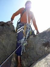 Photo: Richard Kher exiting the boulder, which seemed a far better way to summit than the full on clawing of grass that would've been required to exit as the first ascensionist might have; speculation, of course!