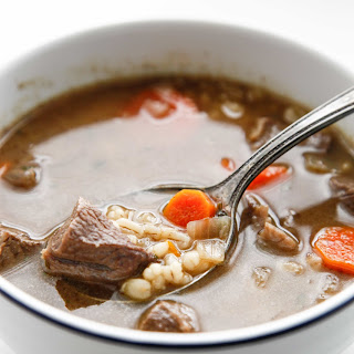 Dutch Oven Beef and Barley Soup.