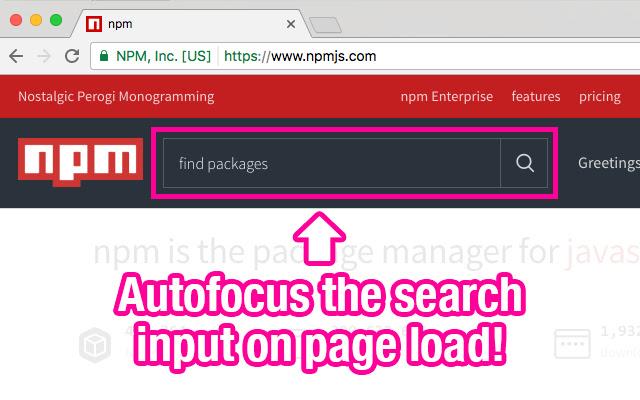 npmjs search autofocus
