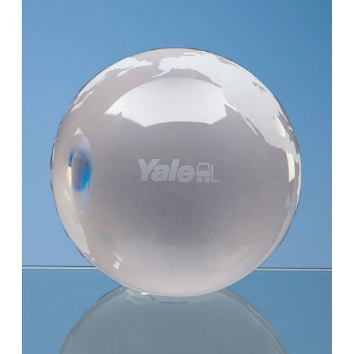 Optical Crystal Globe Award on Clear Base