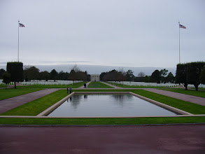 Photo: We are now at the famous American Cemetery at Colleville, just up from Omaha Beach, site of some of the heaviest fighting on D-Day. This land has been given by France to the US, and so we are officially now on American soil.
