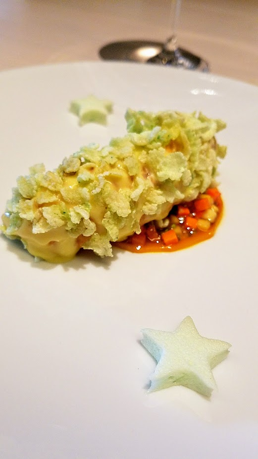 A Meal at In Situ, a restaurant at SF MOMA offering iconic dishes: this is Wasabi Lobster with mango jelly, Thai vinaigrette, wasabi marshmallow, a dish from Tim Raue, Restaurant Tim Raue from Berlin, Germany, 2013