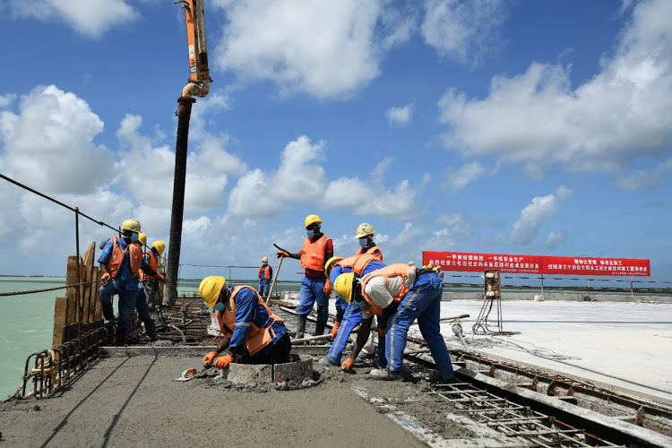 Workers on Lapsset berth.. All completed, commissioning won't take place until worst of Covid-19 passes.