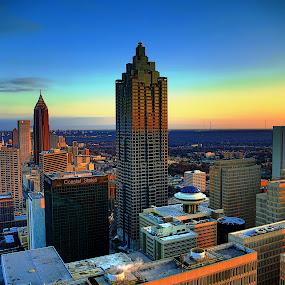 Atlanta Skyline by Sean Walker - Landscapes Sunsets & Sunrises ( suntrust plaza, horizon, sunrise, atlanta, westin hotel )