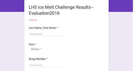 LHS Ice Melt Challenge Results--Evaluation2016