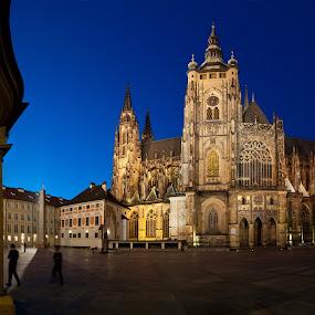 Blue Hour at the St. Vitus Cathedral, Prague by Johannes Schaffert - Buildings & Architecture Other Exteriors ( pano, st. vitus, blue hour, czech, cathedral, night, prag, praha, prague,  )