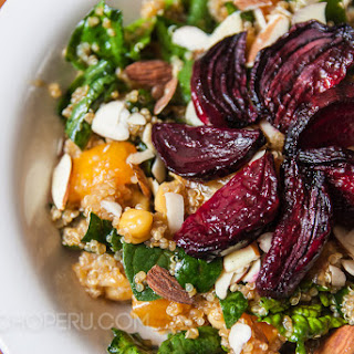 Spinach Quinoa Salad with Roasted Beets