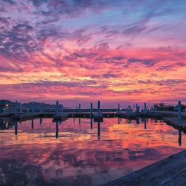 Pink Sky by Carol Ward - Landscapes Sunsets & Sunrises ( water, sky, pink sky, md, waterscape, sunset, maryland, stevensville, landscape )