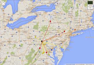Photo: K8GP / Rover - FN00WA QSO map - ARRL June VHF 2014 -  Brn=50 Red=144 Org=222 Yel=432 Grn=902 Blu=1.2G Pur=2.3G Gry=3.4G Wht=5.7G Gld=10G