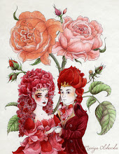 """Photo: Recent Work. Completed with micron pens + waterproof colour inks. 9x12 inches. The imagery here are the King and Queen of flowers from """"Little Ida's Flowers"""" - a fairytale by Hans Christen Andersen."""
