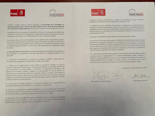 Documento firmado por Pedro Sánchez y Pablo Iglesias.